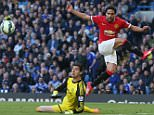 LONDON, ENGLAND - APRIL 18:  Radamel Falcao of Manchester United in action with Thibaut Cortois of Chelsea during the Barclays Premier League match between Chelsea and Manchester United at Stamford Bridge on April 18, 2015 in London, England.  (Photo by Matthew Peters/Man Utd via Getty Images)