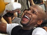 TOPSHOTS WBC/WBA welterweight champion Floyd Mayweather Jr. works out at the Mayweather Boxing Club on April 14, 2015 in Las Vegas, Nevada. Mayweather Jr. will face WBO welterweight champion Manny Pacquiao in a unification bout on May 2, 2015 in Las Vegas.    AFP PHOTO / JOHN GURZINSKIJOHN GURZINSKI/AFP/Getty Images