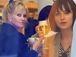 Mandatory Credit: Photo by Buzz Foto/REX Shutterstock (4673829f)\n Melanie Griffith\n Dakota Johnson and Melanie Griffith out and about, New York, America - 17 Apr 2015\n Dakota Johnson and Melanie Griffith get wine and coffee delivered to her from a restaurant across the street as she shops at 'La Garconne'\n