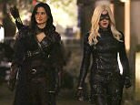 """Picture Shows: Katrina Law, Katie Cassidy  April 17, 2015    Actresses Katie Cassidy and Katrina Law film a night scene for their hit show """"Arrow"""" in Vancouver, Canada. Katie, dressed in her Black Canary costume, had a quick fight scene with a baton in hand, while Katrina was dressed in her Nyssa al Ghul costume as well.     Exclusive All Rounder  UK RIGHTS ONLY    Pictures by : FameFlynet UK © 2015  Tel : +44 (0)20 3551 5049  Email : info@fameflynet.uk.com"""