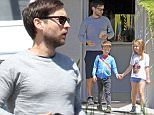 Tobey Maguire spending some quality time with his kids,Ruby and Otis Maguire in L.A.  Pictured: Tobey Maguire,Ruby Maguire,Otis Maguire. Ref: SPL1002490  190415   Picture by: JLM / Splash News  Splash News and Pictures Los Angeles: 310-821-2666 New York: 212-619-2666 London: 870-934-2666 photodesk@splashnews.com
