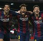 (L-R) Barcelona's Luis Suarez, Neymar and Lionel Messi celebrate a goal against Atletico Madrid during their Spanish First Division soccer match at Camp Nou stadium in Barcelona, Spain on January 11, 2015.    REUTERS/Albert Gea (SPAIN - Tags: SPORT SOCCER)