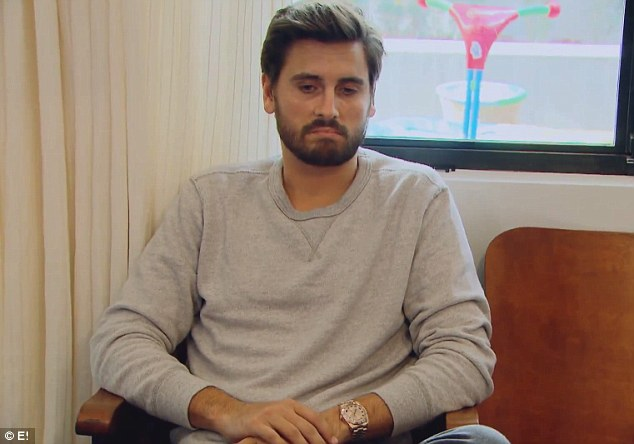 Defiant: Scott starts to sulk in the hot seat, telling Kourtney, 'Me going to Vegas for a night, I don't know how that affects you'