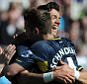 Morgan Schneiderlin of Southampton celebrates with Graziano Pelle of Southampton after scoring