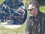 EXCLUSIVE: Tim Burton has some thinking time on set of Miss Peregrine's Home for Peculiar Children filming in Cornwall, UK. Pics taken April 14th.  Pictured: Tim Burton Ref: SPL999450  210415   EXCLUSIVE Picture by: Casey / Sirc / Splash News  Splash News and Pictures Los Angeles: 310-821-2666 New York: 212-619-2666 London: 870-934-2666 photodesk@splashnews.com