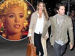 Elizabeth Berkley and husband, Greg Lauren date night at The Polo Lounge in NYC holding hands April 22, 2015 X17online.com