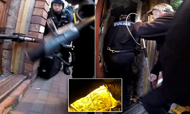West Midlands Police smash down door on booby-trapped cannabis farm
