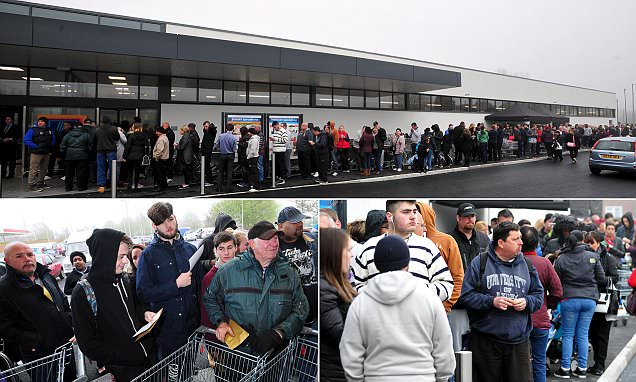 Aldi customers queue for 10 hours to get a free TV in Derbyshire