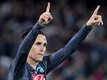Napoli's Jose Callejon celebrates after scoring against VfL Wolfsburg during their Europa League quarter-final second leg soccer match at San Paolo stadium in Naples April 23, 2015. REUTERS/Ciro De Luca