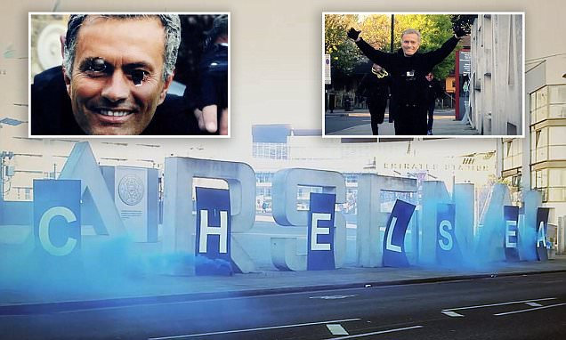 Chelsea fans call themselves the 'C-Team' before storming Emirates to turn Arsenal sign