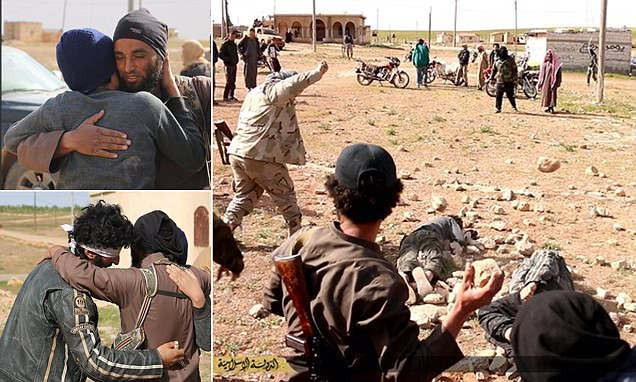 ISIS killers hug men accused of being gay before stoning them death