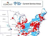 A map showing cable service coverage of TWC and Comcast respectively, prepared by Comcast and included with merger proposal documents. http://corporate.comcast.com/images/Comcast-Public-Interest-Statement-April-8.pdf