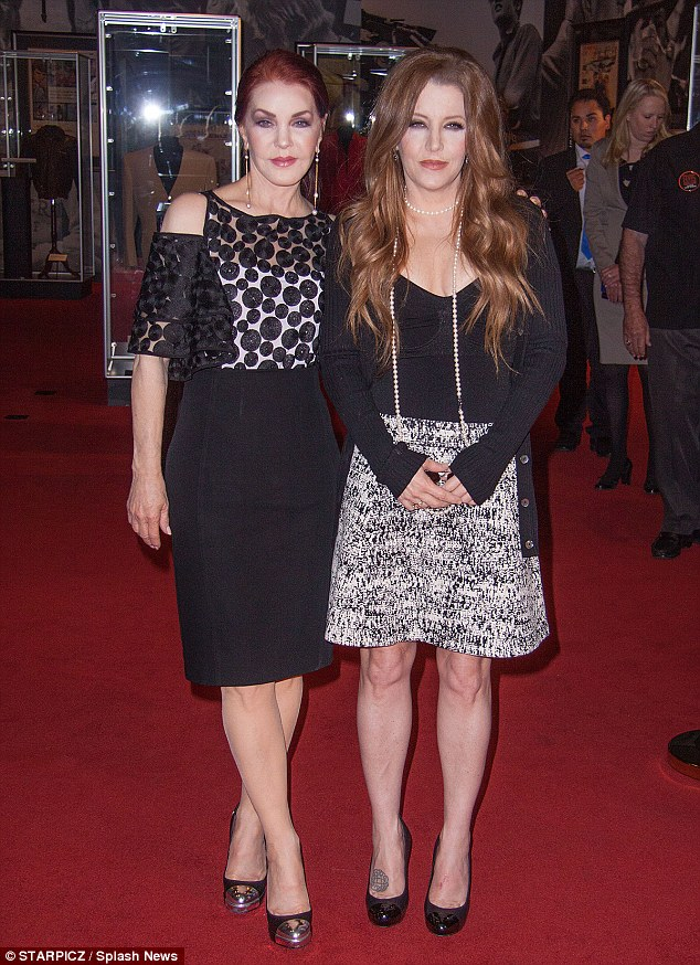 Family: Elvis' ex-wife Priscilla Presley and his only daughter Lisa Marie honoured the late legend at the debut of the Elvis exhibit in Las Vegas on Thursday