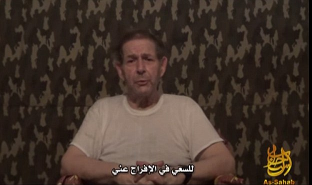 Weinstein had been held captive since 2011. In 2012 he appeared in a video (pictured) shot by his captors, claiming he had been 'forgotten and abandoned'