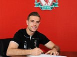 LIVERPOOL, ENGLAND - APRIL 23:  (THE SUN OUT, THE SUN ON SUNDAY OUT) Jordan Henderson of Liverpool Signs a new contract at Melwood Training Ground on April 23, 2015 in Liverpool, England.  (Photo by John Powell/Liverpool FC via Getty Images)