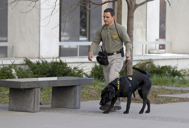 High security: Agents were seen patrolling the area with sniffer dogs during the controversial proceedings