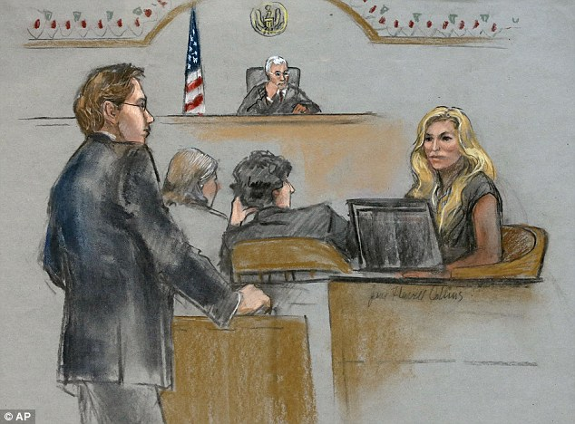 Heather Abbott is depicted on the witness stand today, Abbott's left leg was amputated after she was injured in the second explosion near the marathon finish line in 2013