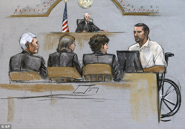 In this courtroom sketch,  survivor Marc Fucarile, right, is depicted on the witness stand during the penalty phase where he stared down Tsarnaev. Fucarile said he has had more than 60 surgeries, and it is still unclear whether his left leg can be saved