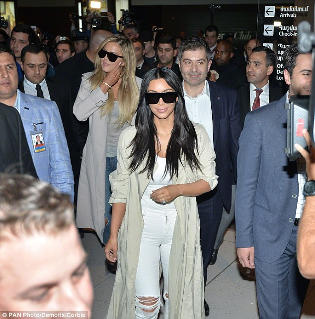 Total pro: You'd never have guessed Kim spent the flight in cramped economy class as she touched down at Zvartnots Airport in Yerevan, Armenia