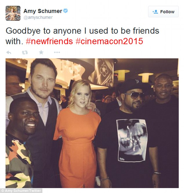 'Goodbye to anyone I used to be friends with!' Schumer was thrilled to hang backstage the Caesars Palace Colosseum with her new celebrity pals - Kevin Hart, Chris Pratt, Ice Cube, and Dr. Dre