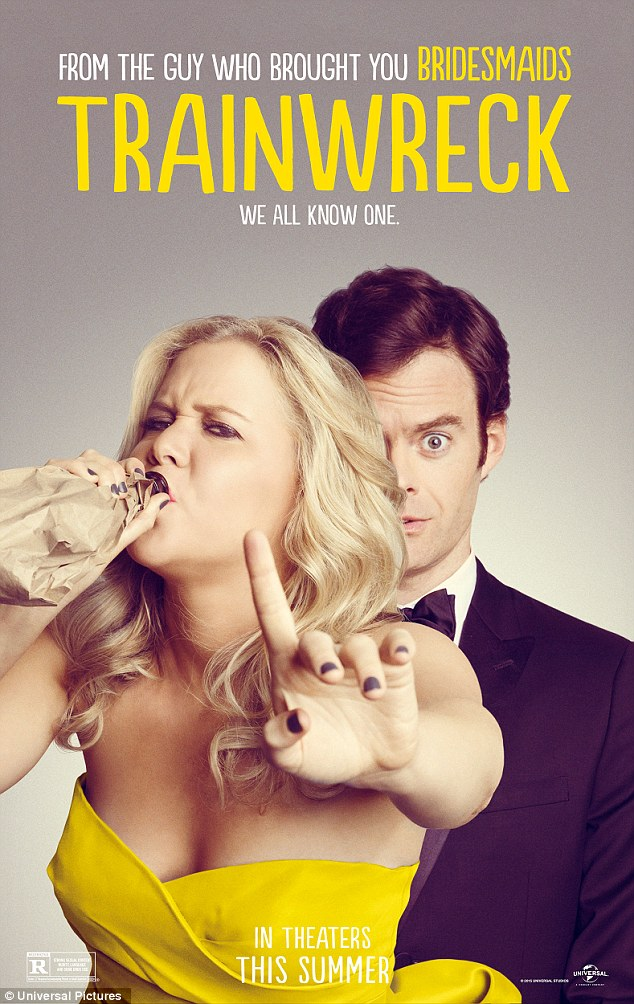 Hitting UK theaters August 28!Schumer wrote and starred in Judd Apatow's Trainwreck alongside Bill Hader (R), Tilda Swinton, and Marisa Tomei