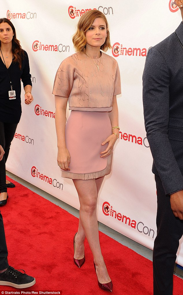 Pin parade: Emmy nominee Kate Mara looked pretty in pink in a crop top and matching mini-skirt on the red carpet