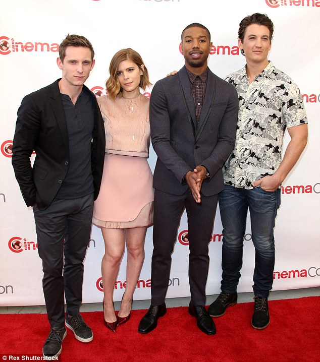 Superheroes: The 32-year-old actress was joined by her handsome Fantastic Four castmates Jamie Bell, Michael B. Jordan, and Miles Teller