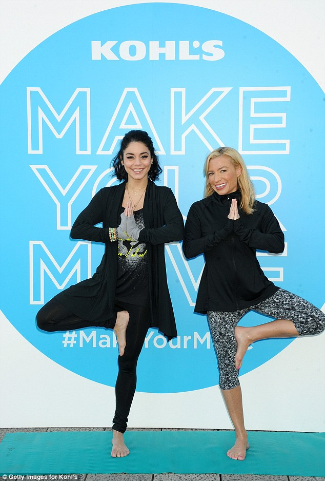 Famous friend: She was joined by celebrity trainer and fellow yogi Tracy Anderson