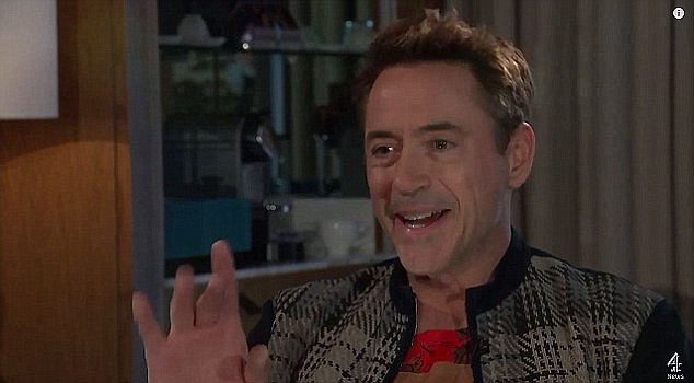 Not having it:RDJ stormed out of a TV interview when asked about his history of drug abuse and time in prison on Wednesday