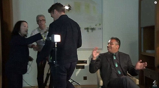 'It's just getting a bit Diane Sawyer': British journalistKrishnan Guru-Murthy looked panicked with his arms in the air