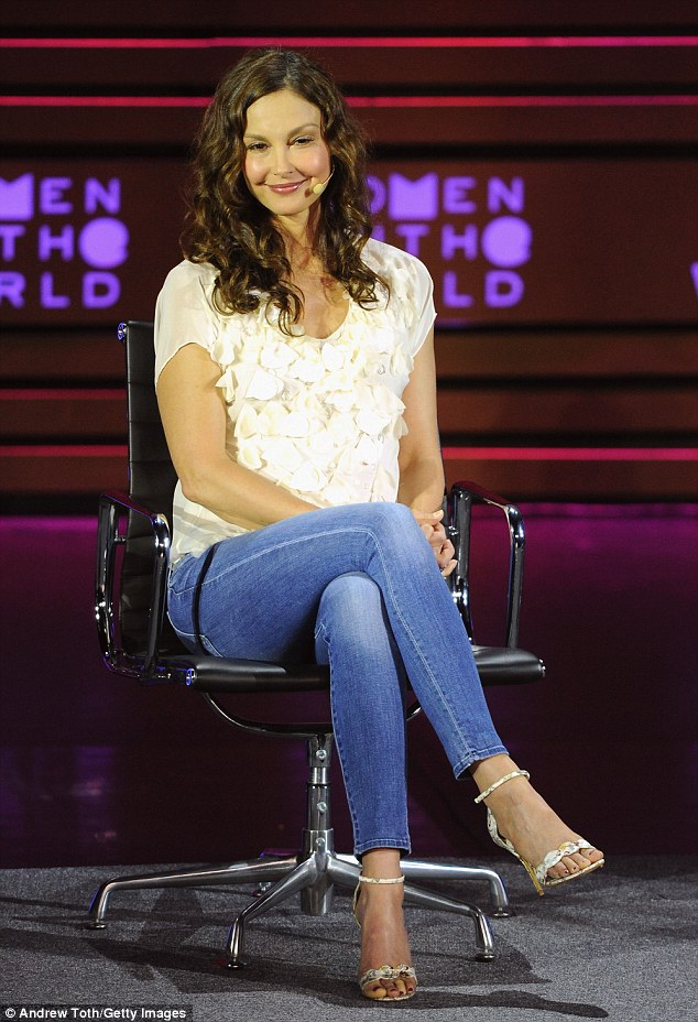 Sitting pretty: Also onstage the David H. Koch Theater was two-time Golden Globe nominee Ashley Judd speaking on a panel called 'Taming the Trolls'