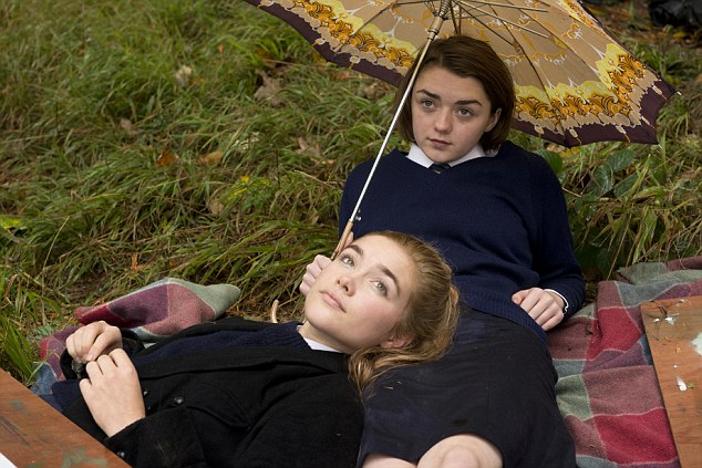 Florence Pugh (left) and Maisie Williams (right) star in The Falling, a 'downright weird' film about an outbreak of mass hysteria in an all-girls' school somewhere in England in 1969 to the consternation of the headmistress