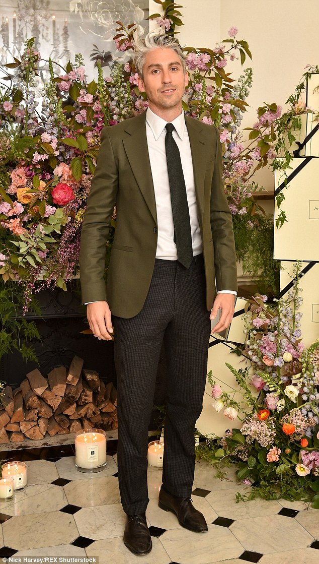 Smart: Presenter George Lamb looked dapper in a khaki jacket and checked trousers