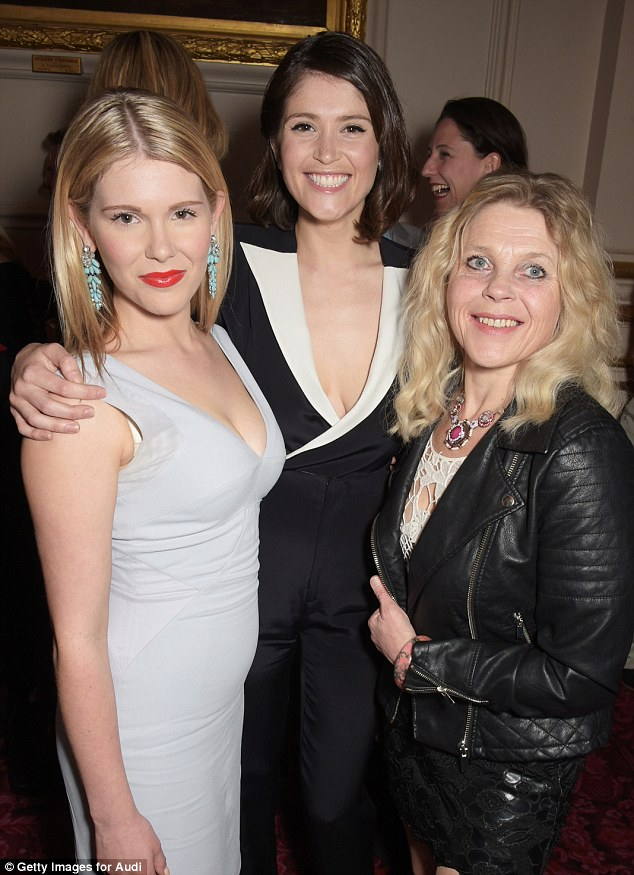 Three's a crowd: Hannah Arterton, Gemma Arterton and their mother Sally-Ann Heap pose for pictures