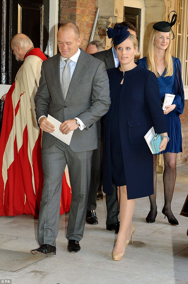 Godmother: Zara, seen here with husband Mike Tindall at the Chapel Royal, is godmother to Prince George