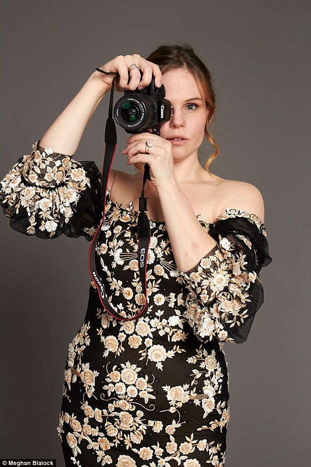Strike a pose: Meghan Blalock, pictured at a Marchesa shoot in 2014, when she 'squeezed into' a small size six dress, has opened up about her battle with body image