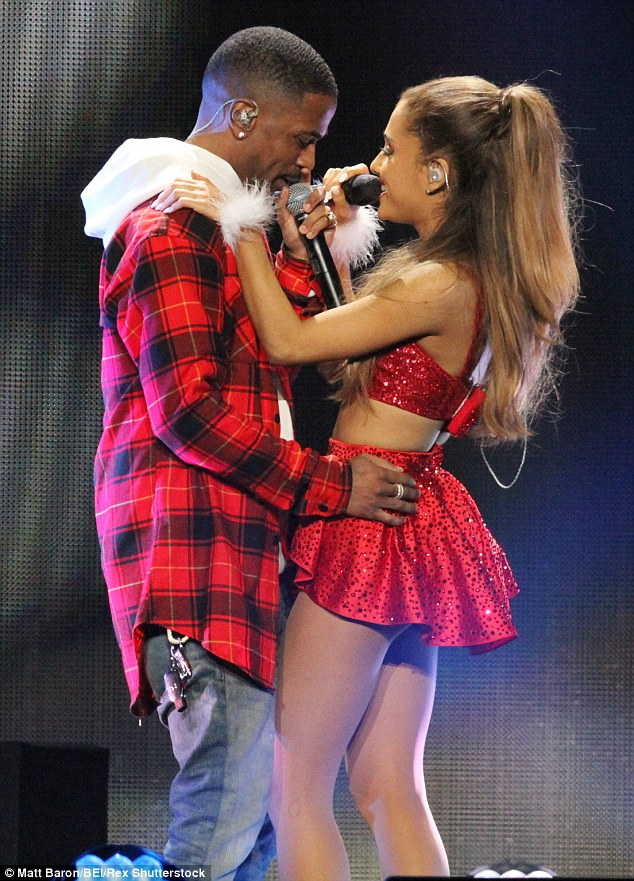 Intimate: The couple are pictured here sharing the stage at the KIIS FM Jingle Ball in LA in December 2014