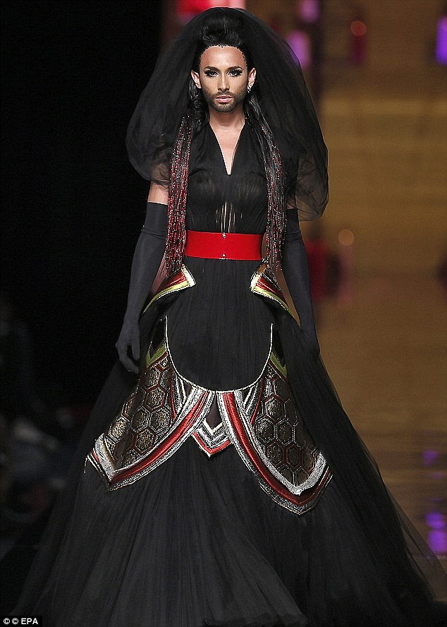 Conchita made her catwalk debut at the Jean Paul Gaultier haute couture show in July 2014