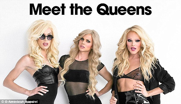 RuPaul's Drag Race contestants Alaska (left) Courtney Act (centre) and Willam Belli (right) appeared in an American Apparel campaign