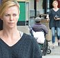 UK CLIENTS MUST CREDIT: AKM-GSI ONLY EXCLUSIVE: Charlize Theron made sure to take care of a disabled man who asked her for some spare change as she exited a 7/11 store this afternoon in Culver City.  Pictured: Charlize Theron Ref: SPL1006816  220415   EXCLUSIVE Picture by: AKM-GSI / Splash News