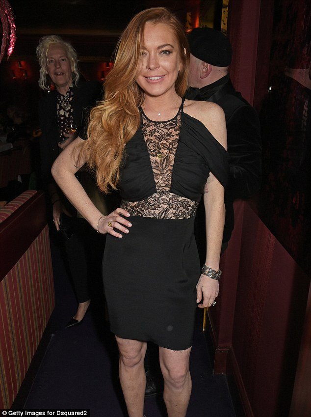 London resident: Lindsay is shown on Tuesday at the Dsquared2 store launch in London