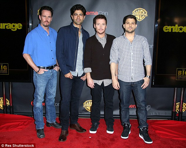 Arrival: The cast of the new Entourage film, Kevin Dillon, Adrian Grenier, Kevin Connolly and Jerry Ferrara