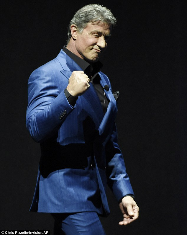 Rocky star: Sylvester Stallone arrived at CinemaCon and screened a clip from the upcoming Rocky sequel Creed