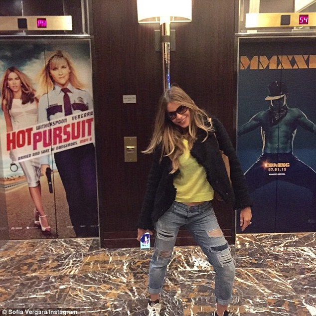 'We r in Vegas!! #hotpursuit #magicmike':Sofia found her film poster was displayed next to her love Joe's Magic Mike XXL placard at the Vegas hotel on Tuesday