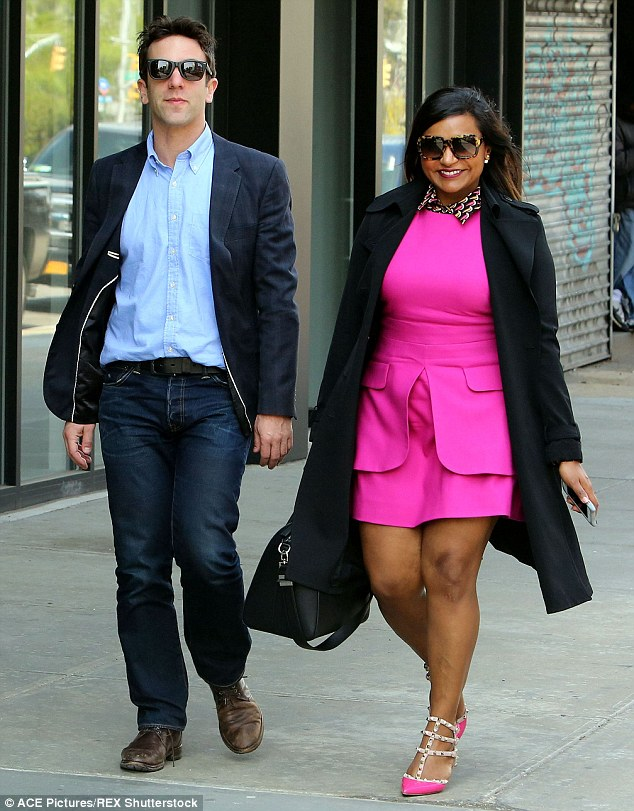 Working it! Mindy Kaling, right, stunned as she and B.J. Novak, left, went out in New York City on Wednesday