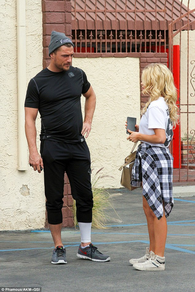Bachelor's Chris Soules and Witney Carson end a long day of practice at the 'Dancing With The Stars' dance rehearsal studio in Hollywood