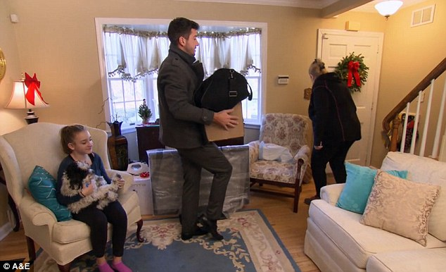 Emotional moment: Ryan was sad to leave his mother and his teenage niece Kayla