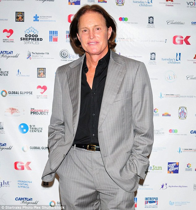 The grown-up Bruce: Jenner, now 65, with his long hair at a charity event in NYC in September 2013