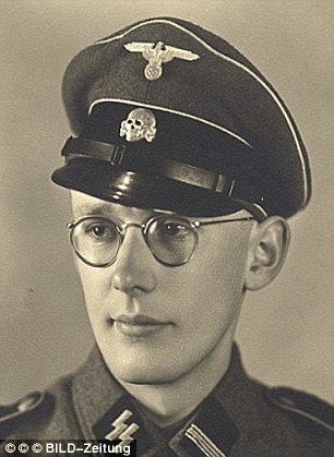 SS Sergeant Oskar Groening - known as'the bookkeeper of Auschwitz' -is  on trial charged with complicity in the killing of 300,000 Jews at the Nazi extermination camp