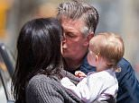 Picture Shows: Hilaria Thomas, Alec Baldwin, Carmen Baldwin  April 22, 2015    Pregnant Hilaria Thomas runs errands with her daughter Carmen in New York City, New York.     After visiting a doctor's office, the pair were met by Alec Baldwin for a group hug and kisses. Later Hilaria made the most of the wonderful spring weather with a trip to Babies 'R Us.     Exclusive All Rounder  UK RIGHTS ONLY    Pictures by : FameFlynet UK © 2015  Tel : +44 (0)20 3551 5049  Email : info@fameflynet.uk.com